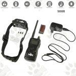Dog training model:06 (Електронен тренировъчен нашийник за дресура- комплект + дистанционно, LCD дисплей, вибрация, звук, ток, 1000 метра- водоустойчив - презареждащ)