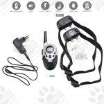 Dog training model:05 с два нашийника (2 броя електронни тренировъчни нашийници за дресура- комплект + дистанционно, LCD дисплей, вибрация, звук, ток, 750 метра- презареждащ )