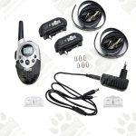 Dog training model:07 с два нашийника (2 броя електронни тренировъчни нашийци за дресура- комплект + дистанционно, LCD дисплей, вибрация, звук, ток, 750 метра- водоустойчив- презареждащ )