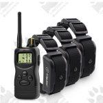 Dog training model:06 с три нашийника (3 броя електронни тренировъчни нашийници за дресура- комплект + дистанционно, LCD дисплей, вибрация, звук, ток, 1000 метра- водоустойчив - презареждащ)