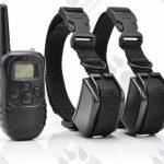 Dog training model:02 с два нашийника (2 броя електронни тренировъчни нашийници за дресура- комплект + дистанционно, вибрация, ток, 300 метра, водоустойчив - презареждащ)